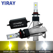 YIRAY ampoule LED 12V Headlight Bulbs LED H7 H4 9003 HB2 H1 H11 9005 HB3 9006 HB4 LED 60W 9600LM 6000K Super Bright CSP Chips T9 super bright all in one car led headlight bulb for philips cold white p7 h1 6000k lamp bead chips with 2x 60w 9600lm dc9v 30v