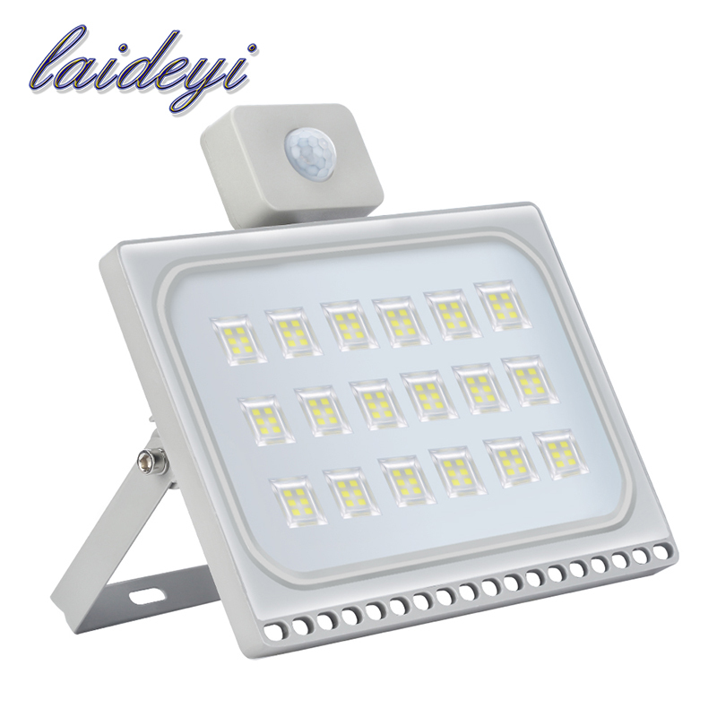 LAIDEYI 1Pcs Led Ultrathin Motion Sensor Flood Lights 100W 8000LM Waterproof IP65 Led Spotlight Floodlight Lamp Outdoor Lighting ultrathin led flood light 200w led floodlight ip65 waterproof 220v 110v led spotlight outdoor lighting