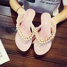Summer Women Slippers Flat Flip Flops Beach Sandals Lovely Girls Ladies Slippers Fashion Bling Pearl Slippers Women Flats Shoes недорого