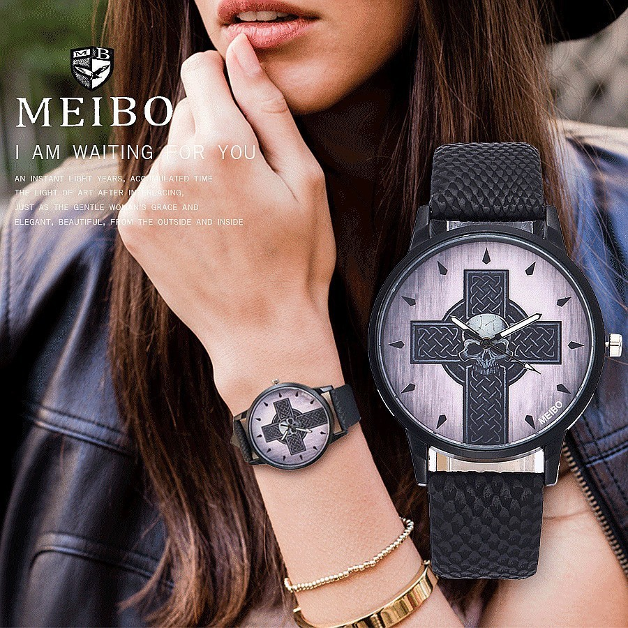 MEIBO Fashion Creative Cross Watch Luxury Brand Women Leather Watches Casual Female Quartz Clock Wristwatches Relogio Feminino concept of vortex female student individuality creative watch han edition contracted fashion female table