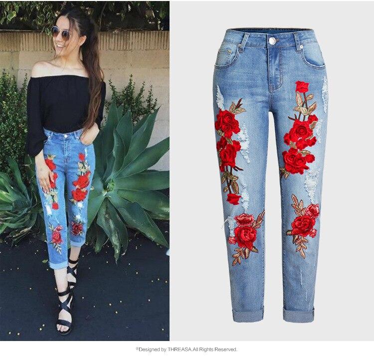 European&Ameircan Women's Casual Hole Jeans Fashion Embroidered Plus Size XXXL Denim Pants