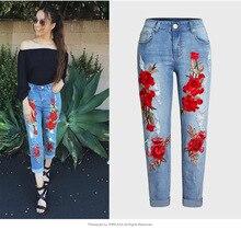купить!  Европейские и американские женские повседневные джинсовые брюки с вышивкой плюс размер XXXL джинсовы