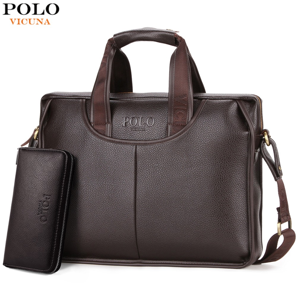 VICUNA POLO Design classique Grande Taille Porte-documents En Cuir Hommes Casual Homme D'affaires Sac Bureau Porte-Documents Sacs Sac D'ordinateur Portable maletin