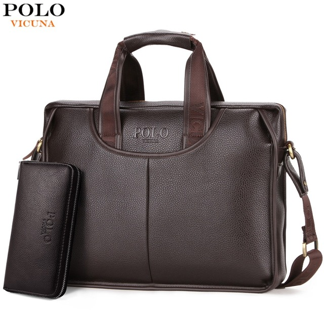 VICUNA POLO Classic Design Large Size Leather Briefcases Men Casual  Business Man Bag Office Briefcase Bags c06b5a98cac93