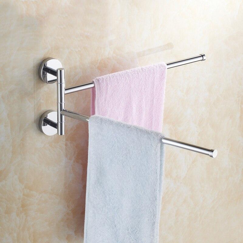 Stainless Steel Wall Mount Swing Out Towel Bar 2-Bar Folding Arm Swivel Hanger Towel Rack Hanger Holder Organizer
