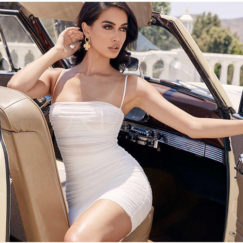 NewAsia deux couches robe plissée blanche femmes moulante robe de plage tenue de club Sexy légèrement pure robe d'été froncée 2019