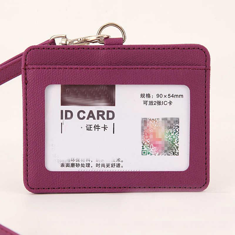 eTya New PU Leather Men Women Business ID Card Holder Wallet Fashion Work Badge Card Case Credit Card Holder Wallets Cover Bag