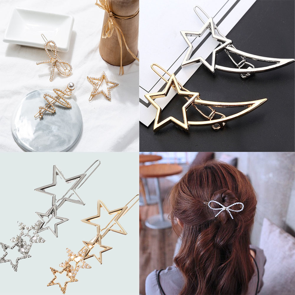 Geometric Stars Knot Barrettes Clips For Women Hair Side Bobby Pins Ponytail Hairpins Girls Metal Hairclips Hair Accessories