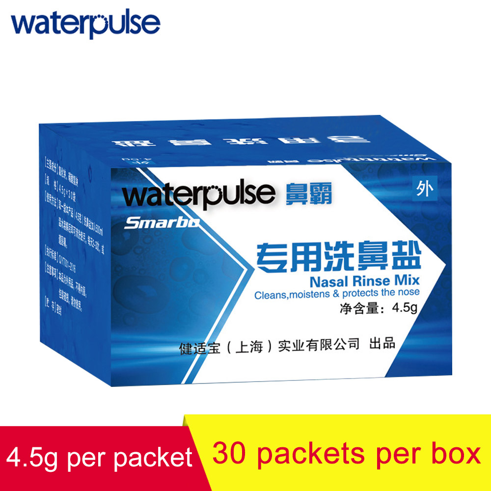 Waterpulse Nose Wash Sinus Allergies Relief Salt Nasal Rinse Mix 4.5g*30 Packets Cleaning Rhinitis Nose Care Irrigation Tools woodyknows super defense nasal filters 2nd generation nose masks pollen allergies dust allergy relief no pm2 5 air pollution