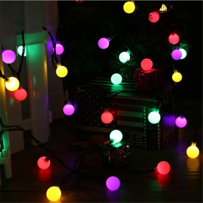 5m 20led 18mm round ball solar string lights outdoor fairy light for christmas wedding party decoration with solar panel in holiday lighting from lights