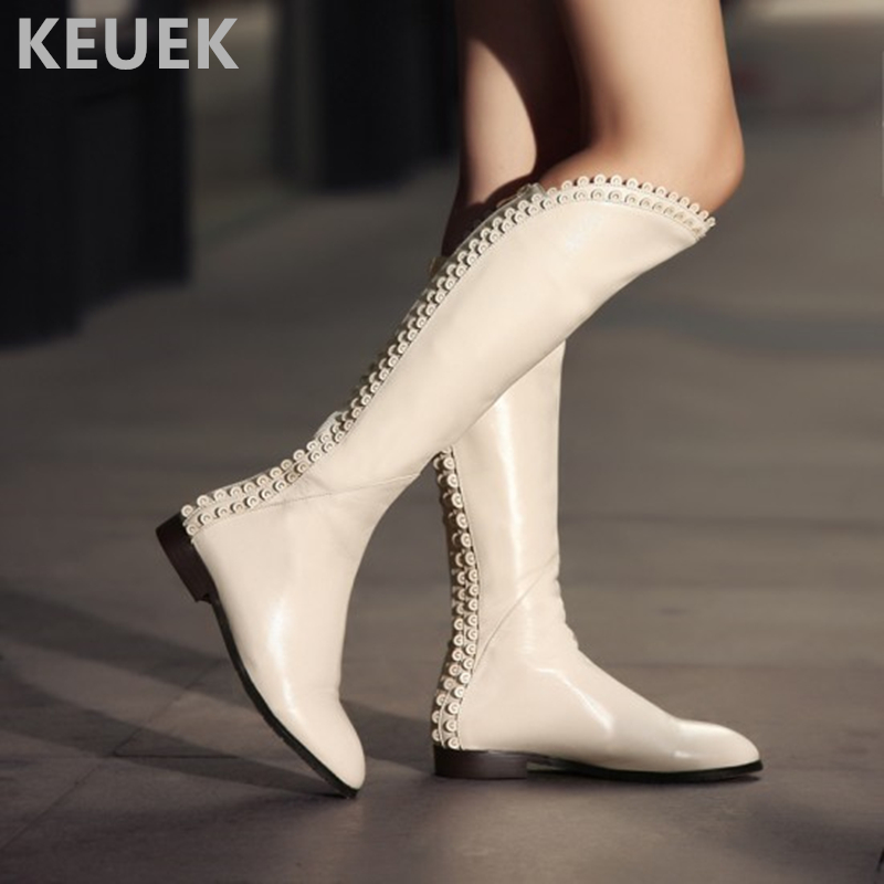 Autumn Winter Full Grain Leather Women Motorcycle boots Fashion Warm Snow boots Genuine leather Women shoes Knee high boots 02C drop shipping 2015 fashion arrive sexy full grain leather lady high heels motorcycle boots for women genuine leather ankle boots