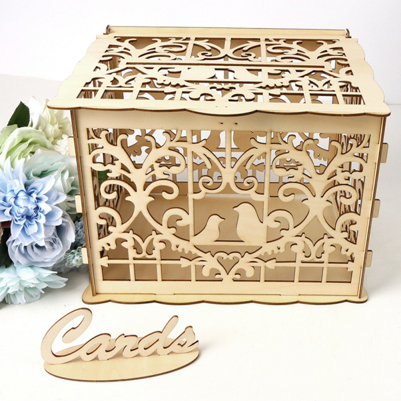 Us 9 9 44 Off Diy Wedding Gift Card Box With Lock Beautiful Wedding Decoration Supplies For Birthday Party Wooden Money Box In Wedding Card Boxes