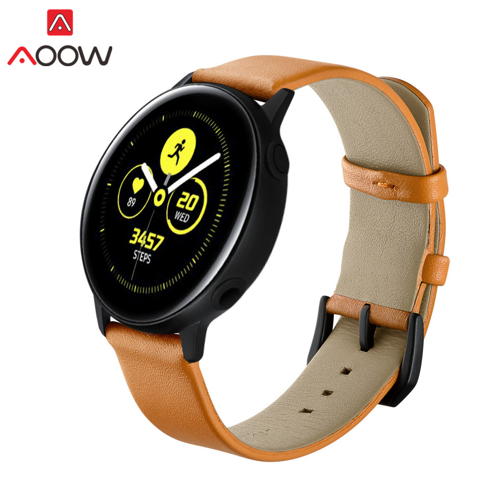20mm Genuine Leather Watchband For Samsung Galaxy Watch Active 42mm Gear S2 Classic Bracelet Band Strap For Amazfit Garmin R810