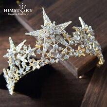 Himstory New Luxury Big Size Star Bride Wedding Tiaras  Crown Gorgeous Rhinestone Crystal Queen Crown Wedding Hair Accessories