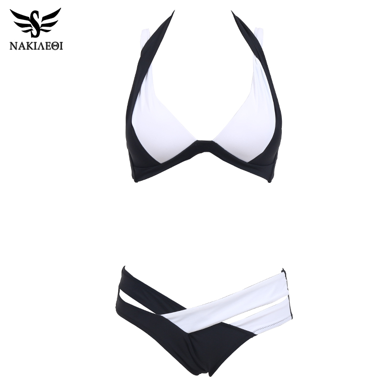 NAKIAEOI Sexy Bikinis Women Swimsuit 2018 Summer Beach Wear Bikini Set Push Up Swimwear Bandage Bathing Suit Black And White XL 1