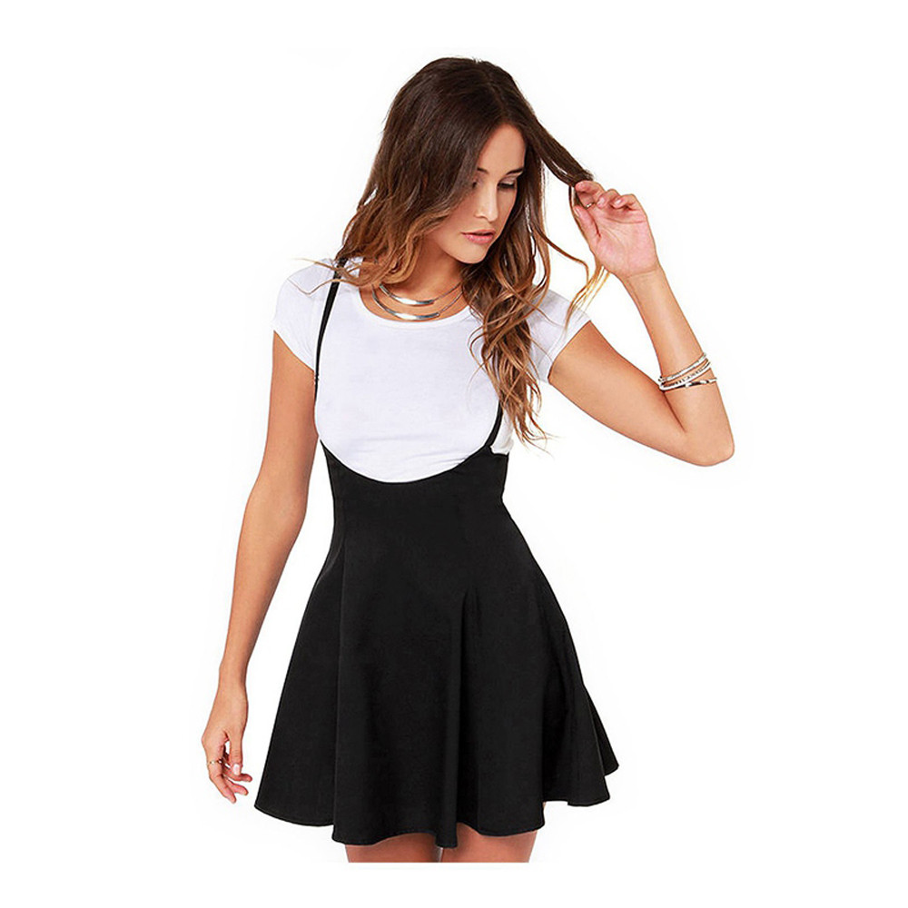 Summer Women Skirts Black Suspender Skater Skirt With Shoulder Straps Pleated Hem Faldas Saia Etek Skirt With Braces Bodycon