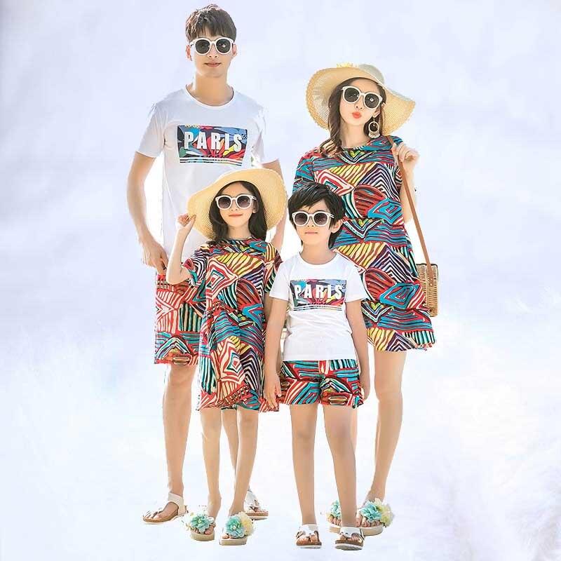 Été fille bébé fille garçon bohême robe pour femmes T-shirts 2019 famille correspondant vêtements maman et moi vêtements mère et
