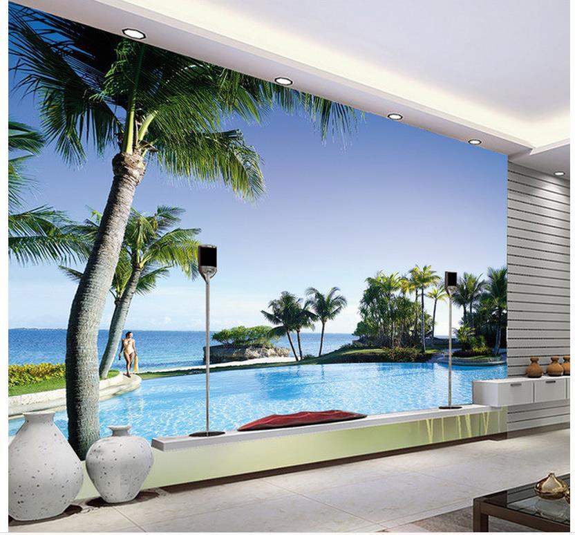 3d Landscape Wallpaper Home Decoration Pool Villa 3d Backdrop Wallpapers For Living Room 3d Room Wallpaper