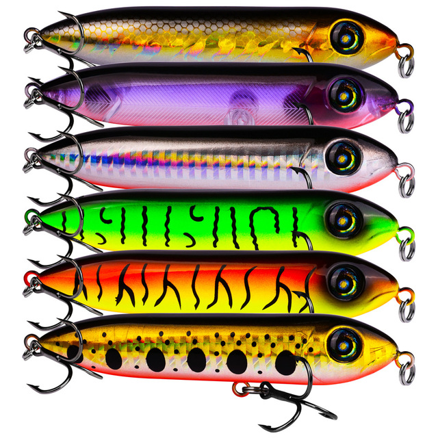 1pcs Snake Head Pencil Bait 6 Colors 10.2cm/11.5g Fishing lure Floating Crankbait Sea Bass Pike Topwater 3D Eyes Plastic Wobbler 2