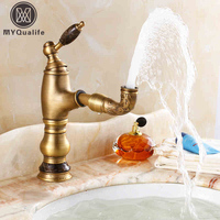 European Style Antique Bathroom Vessel Sink Mixer Faucet Pull Out Spout Kitchen Sink Hot and Cold Water Taps Single Jade Handle