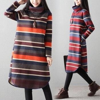 P Ammy 2018 Winter-Herfst Mode Trend Plus Size vrouwen Retro Bloemen Thicken Turtle-Neck Casula Wol blends Deken Jurk