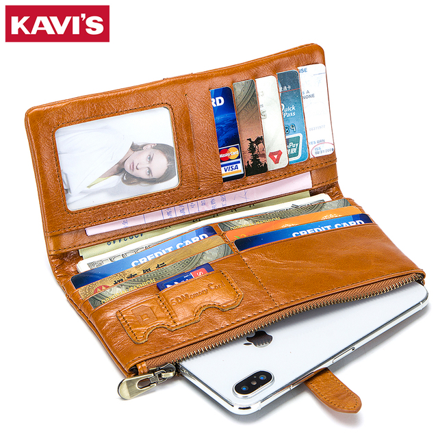 KAVIS Cow Genuine Leather Women Wallet and Female Coin Purse Portomonee Clutch Money Bag Lady Handy Card Holder Long Girls Hasp