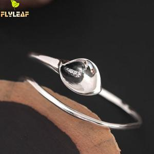 Image 2 - Flyleaf 925 Sterling Silver Vintage Calla Lily Flower open Bracelets & Bangles For Women Fashion Lady Sterling silver jewelry