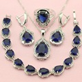 ASHLEY Blue Stone Silver Plated Jewelry Sets For Women Gift Wedding Decorations Fetching Earrings/Bracelet/Pendant/Necklace/Ring