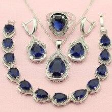 ASHLEY Piedra Azul Plateado Sistemas de La Joyería Para Las Mujeres Regalo de Boda Decoraciones Fetching Pendientes/Pulsera/Pendiente/Collar/anillo