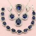 ASHLEY Pedra Azul de Prata Banhado Conjuntos de Jóias Para As Mulheres Presente Decorações de Casamento Atraente Brincos/Pulseira/Colar de Pingente/Colar/anel