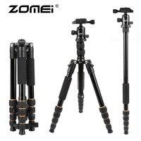 ZOMEI lightweight Portable Q666 Professional Travel Camera Tripod Monopod aluminum Ball Head compact for digital SLR DSLR camera
