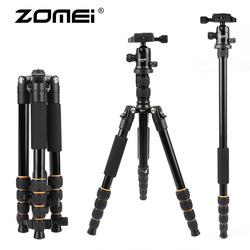 Zomei leve portátil q666 profissional tripé de câmera viagem monopé bola de alumínio cabeça compacto para digital slr dslr câmera