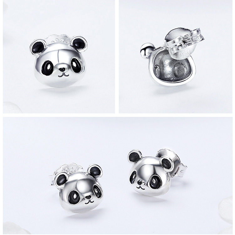 HTB1CNzRgrorBKNjSZFjq6A SpXaI BAMOER Genuine 100% 925 Sterling Silver Animal Collection Cute Panda Stud Earrings for Women Sterling Silver Jewelry SCE386