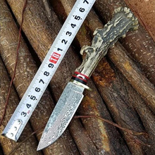 Damascus steel Handmade Forged Damascus Hunting Knife Antler handle survival tactical knife Genuine Leather sheath