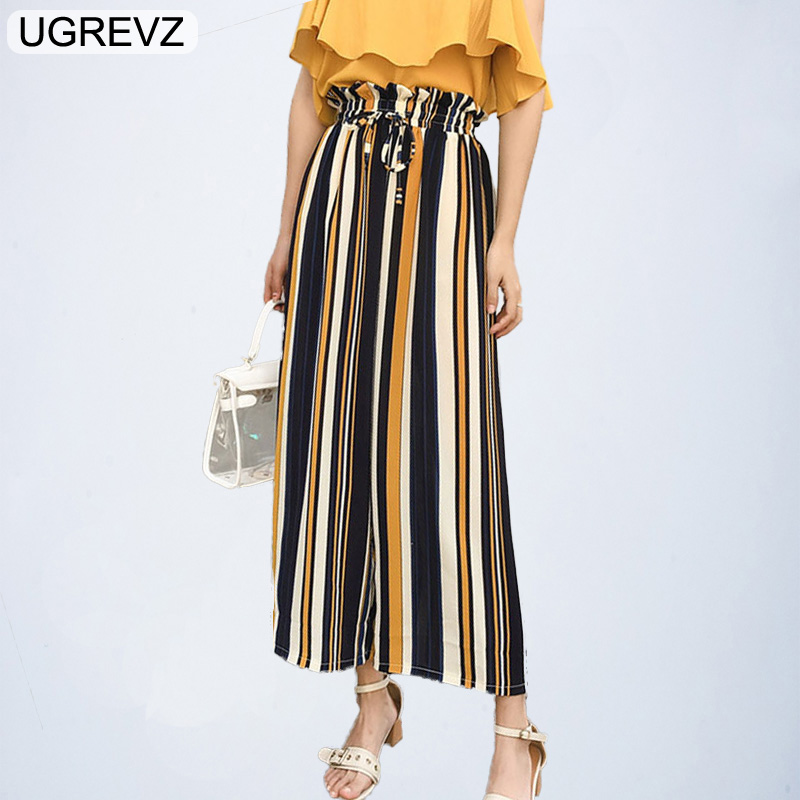 UGREVZ 2018 New Ruffle Waist Striped   Wide     Leg     Pants   Summer Elastic Waist Belted Bow Loose Long Trousers Women High Waist   Pants