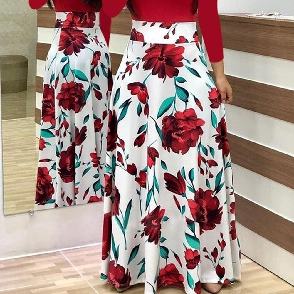 HTB1CNzYXYr1gK0jSZFDq6z9yVXaK New Summer Flower Dot Print Color Matching Long Sleeve High Waist Women Maxi Dress