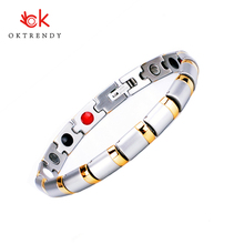 Oktrendy Magnetic Silver Gold Plating Stainless Steel Bracelet For Women Friendship Bracelets With Germanium Bio Health Jewelry