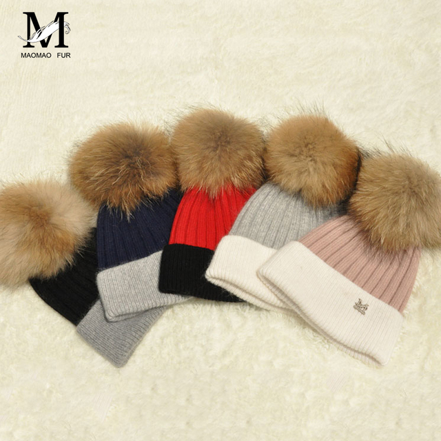 fb7457d1fa2 Home   Women Real Fur Pom Pom Hat Female Winter Wool Autumn Knitted Beanies  Fur Ball Cap Ladies Cashmere Natural Raccoon Fur Pompom Hat
