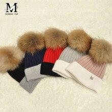 casquette Women Wool Ball RACCOON Fur Pompoms Knitted Bonnet Hat gorros hombre Women Soft Warm Beanies Hat Winter Wool Hat-WH101