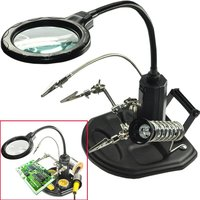 3X 6X Welding Magnifying Glass 16 LED Loupe Magnifier Alligator Clip Holder Clamp Helping Hand Soldering Iron Repair Tool