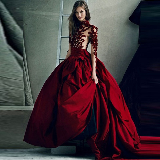 f111da1dd73 Glamorous Arabic Style Evening Dresses Ball Gown Chapel Train O Neck Wine  Red Prom Dresses Sheer Evening Gown Long Sleeves