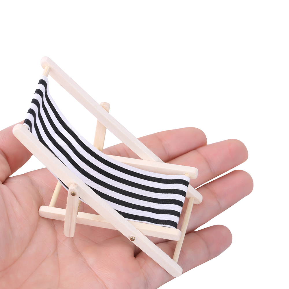 Surprising 1Pc Wooden Lounge Chair Striped For 1 12 Dollhouse Miniature Furniture For Dolls Dollhouse Beach Chair Christmas Gift Kids Toy Creativecarmelina Interior Chair Design Creativecarmelinacom