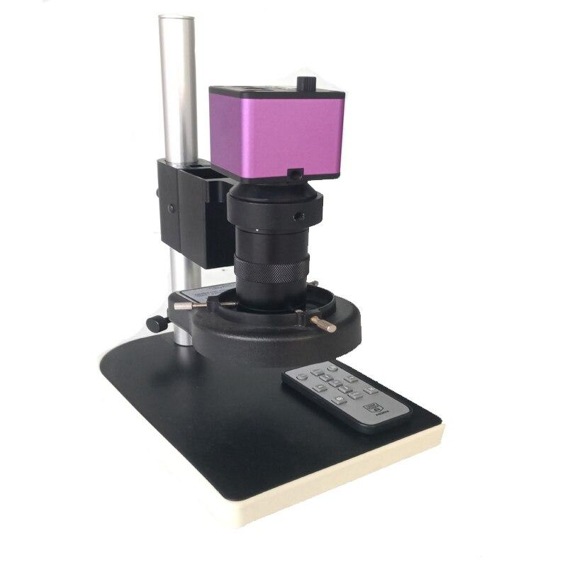 Дистанционное управление 1080 P 16MP HDMI видео USB электронный микроскоп камера 8X-130X C-Mount Объектив 56 светодио дный светодиодные кольца огни микрос...