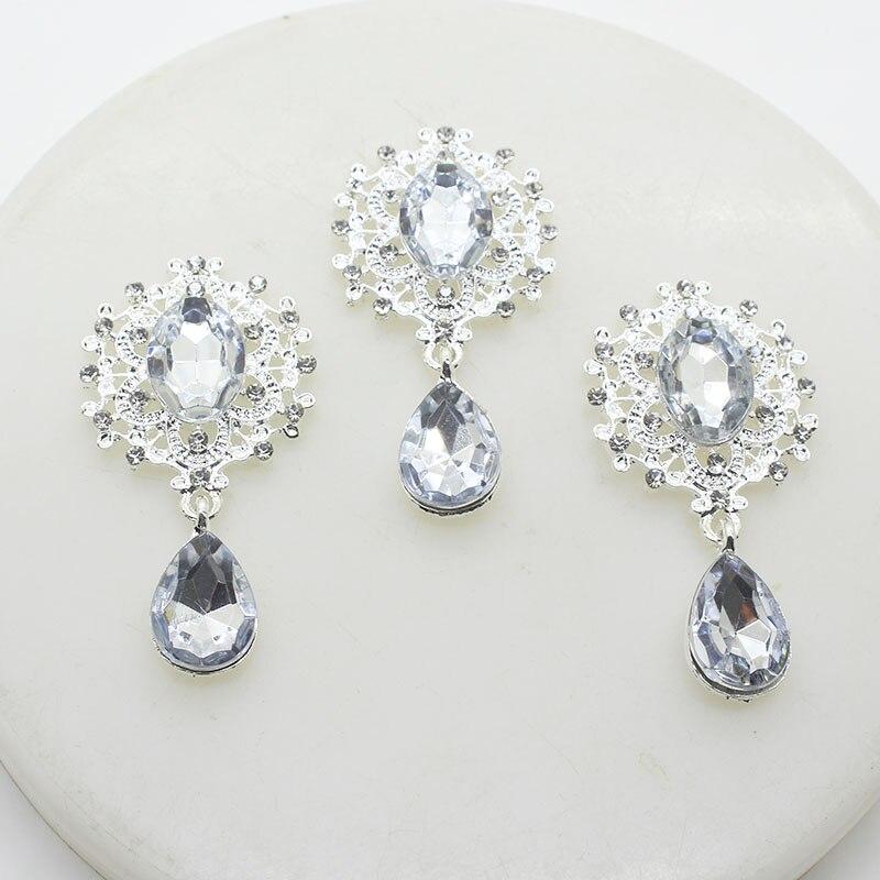 YWXINXI New Fashion Alloy Silver Rhinestone Flat Back Brooch 45*25mm 5 Pieces / Webbing Clothing Accessories Wedding Holiday Par