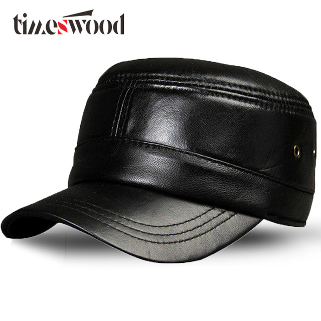 a71b42f166f Real Brand Genuine Leather Military Hats Mens Women Black Plain Solid Color  Caps Breathable Casual Flat