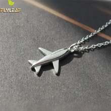 Женское ожерелье с подвеской в виде самолета из серебра 100%