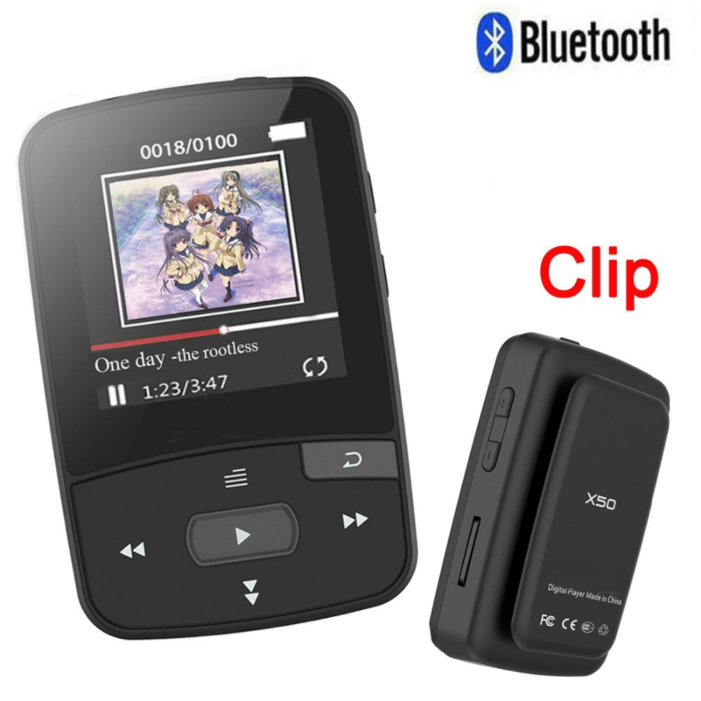 Original RUIZU X50 Mini Sport Clip Bluetooth mp3 player 8GB music player Support TF Card FM