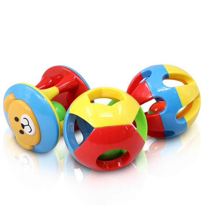 3 Pack Baby Child Hand Catch Ball Toy Soft Rubber Ball Child Teether Rattle Safety Colorful Cartoon Animal Sphere Rustling Sound