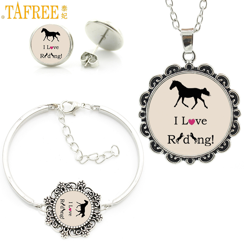 TAFREE exquisite handmade love riding women jewelry sets fashion equestrian sports horses lover bracelet earrings necklace SP552