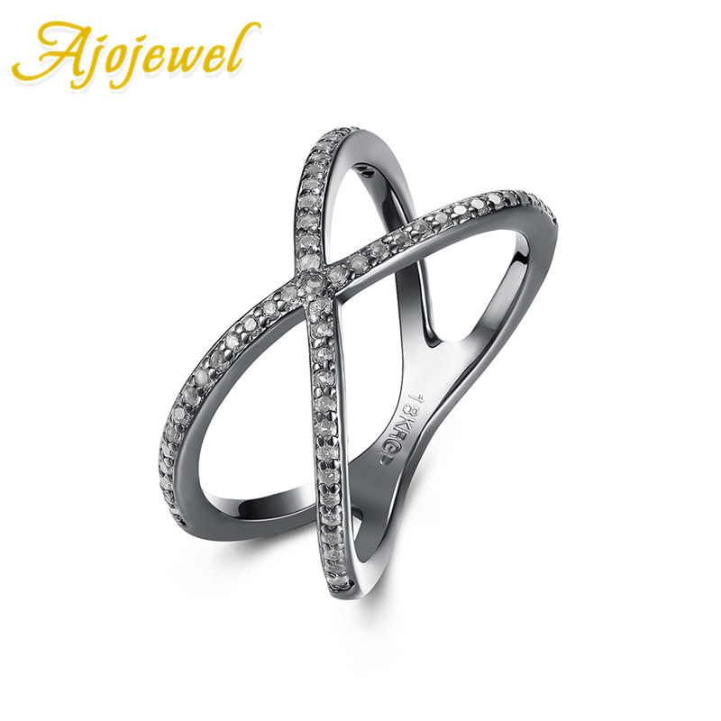 Ajojewel New Cross Shape Zircon Antique Ring Fashion Female Jewelry Infinity Sign Women Rings for Party